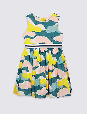Pure Cotton Cloud Print Dress with Belt (3 Months - 8 Years)