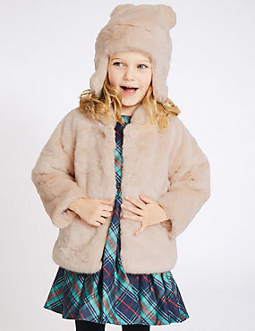 Faux Fur Coat with Hat (3 Months - 5 Years)