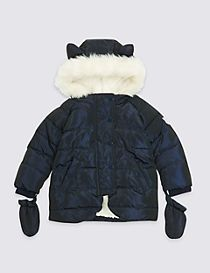 Faux Fur Padded Coat with Ears (3 Months - 7 Years)
