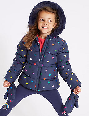 All Over Heart Coat ( 3 Months - 7 Years ), NAVY MIX, catlanding