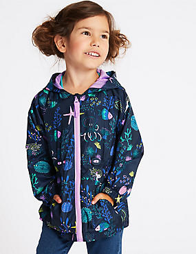 Mermaid Print Coat (3 Months - 7 Years), BLACKBERRY, catlanding