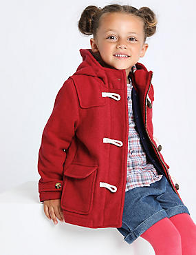 Hooded Duffle Coat (3 Months - 7 Years), RED, catlanding