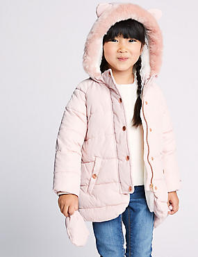 Kitten Ear Padded Coat (3 Months - 7 Years), PALE PINK, catlanding