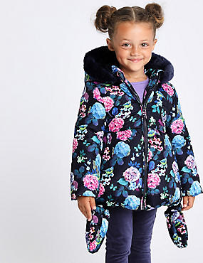 Floral Print Padded Coat (3 Months - 7 Years), NAVY MIX, catlanding