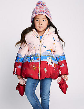 Border Print Padded Coat (3 Months - 7 Years), PINK MIX, catlanding