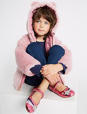 Reversible Faux Fur Coat (3 Months - 7 Years), PALE PINK, catlanding