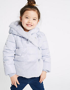 Faux Fur Padded Coat (3 Months - 7 Years), SILVER MIX, catlanding