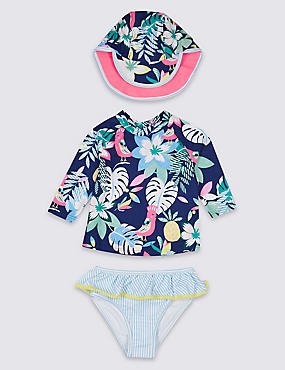 Swimsuit with Sun Safe UPF50+ (3 Months - 7 Years), BLUE MIX, catlanding