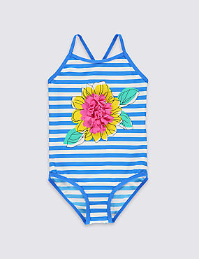 Flower Striped Swimsuit with Lycra® Xtra Life™(0-5 Years)