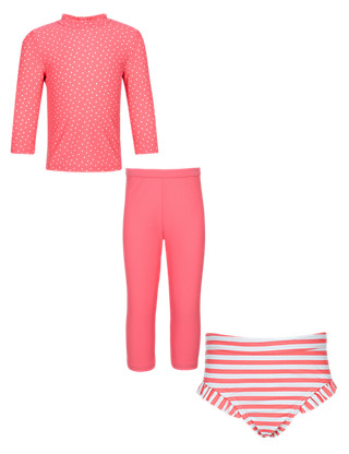 3 Piece Safe in the Sun Spotted & Striped Swimwear Set with Chlorine Resistant (1-7 Years) Clothing