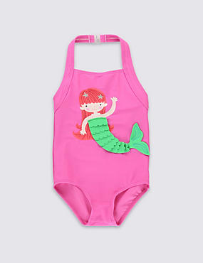 Lycra® Xtra Life™ Halterneck 3D Mermaid Swimsuit (1-7 Years)
