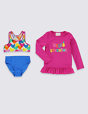 Lycra® Xtra Life™ 3 Piece Assorted Rash Vest Set (1-7 Years)