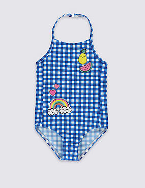 Lycra® Xtra Life™ Halterneck Gingham Checked Badge Swimsuit (1-7 Years)