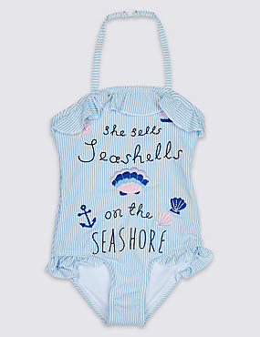 Seashells Embroidered Swimsuit (3 Months - 7 Years)