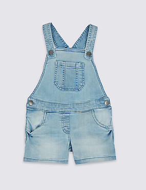 Cotton Denim Dungaree Playsuit with Stretch (3 Months - 5 Years)