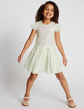 Sequin Embellished Pleated Dress (1-7 Years)