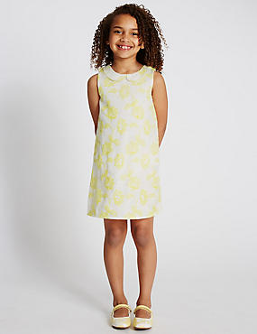 Peter Pan Collar Floral Embroidered Dress (1-7 Years)