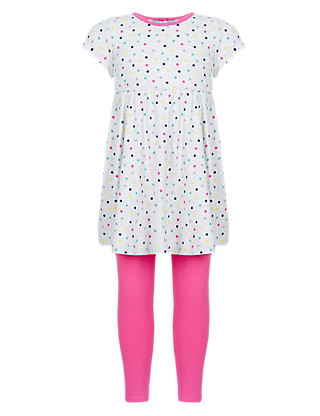 2 Piece Cotton Rich Spotted Tunic & Leggings Girls Outfit (1-7 Years) Clothing