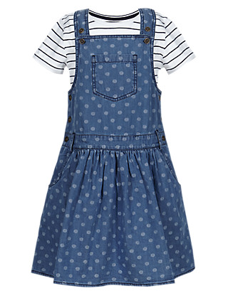 Denim Spotted Pinny Dress & T-Shirt Girls Outfit (1-7 Years) Clothing