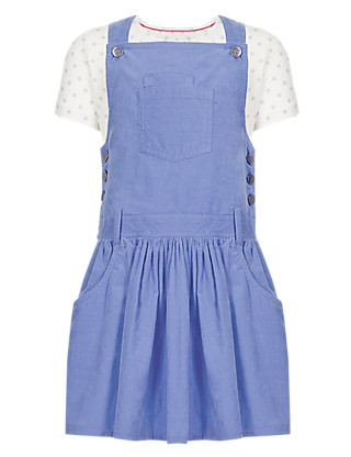 2 Piece Pure Cotton T-Shirt & Corduroy Pinafore Girls Outfit (1-7 Years) Clothing