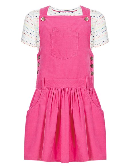 2 Piece Pure Cotton T-Shirt & Corduroy Pinafore Girls Outfit (1-7 Years)