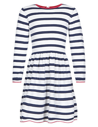 Pure Cotton Striped Knitted Girls Dress (1-7 Years) Clothing