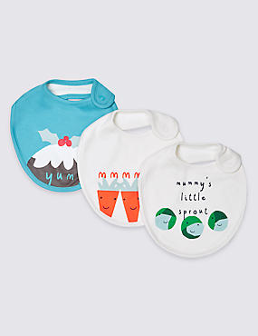 3 Pack Christmas Pure cotton Bibs