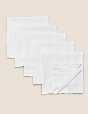 5 Pack Pure Cotton Muslin Squares, WHITE, catlanding
