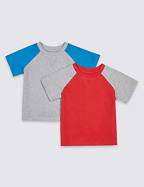 2 Pack Pure Cotton Raglan T-Shirts