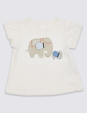 Pure Cotton Elephant Embellished Top
