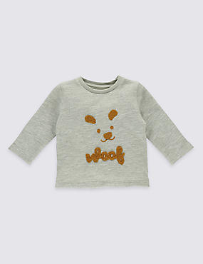 Pure Cotton Textured Applique Sweatshirt