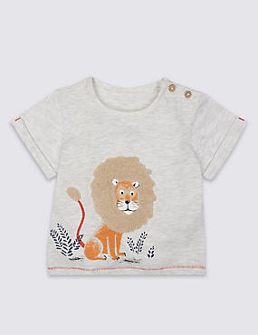 Cotton Rich Lion Applique T-Shirt