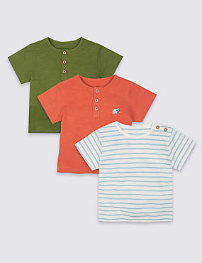 3 Pack Pure Cotton Short Sleeve Tops
