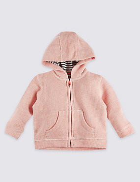 Pure Cotton Textured Hooded Top