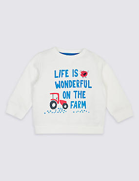 Pure Cotton Slogan Baby Sweatshirt