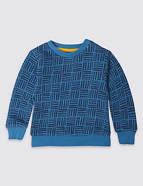 Pure Cotton Geometric Print Sweatshirt