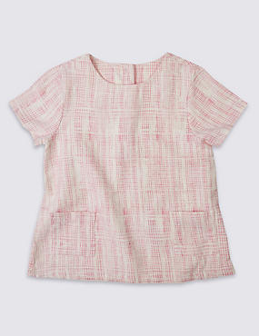 Pure Cotton Short Sleeve Checked Top