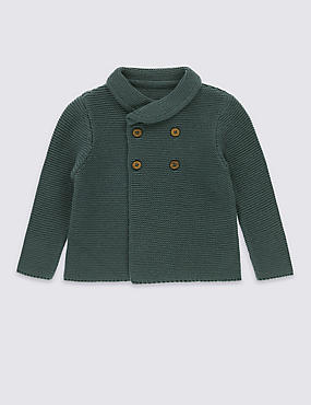 Pure Cotton Shawl Collar Baby Cardigan