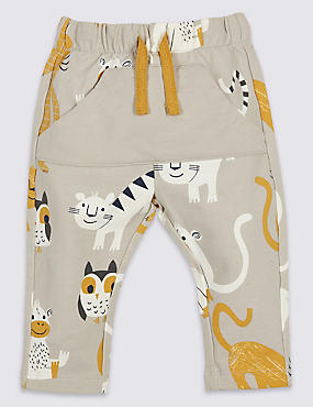 Cotton All Over Print Joggers with Stretch