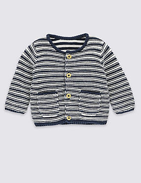 Pure Cotton 2 Pocket Striped Cardigan