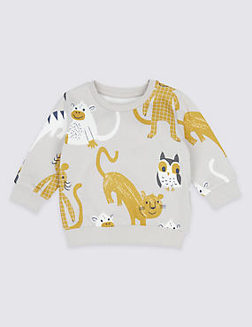 Pure Cotton Animal Print Baby Sweatshirt