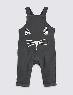 Pure Cotton Face Jersey Printed Dungarees, PEWTER, catlanding
