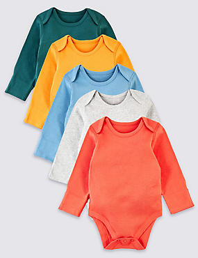 5 Pack Pure Cotton Ribbed Bodysuits, MULTI, catlanding
