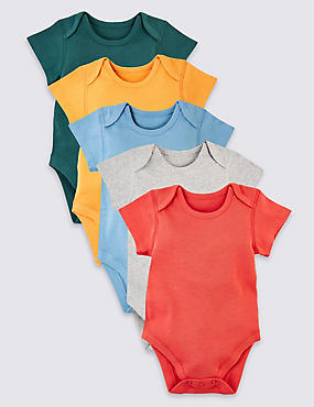 5 Pack Pure Cotton Bodysuits, MULTI, catlanding