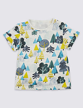 Pure Cotton Tree Print T-Shirt