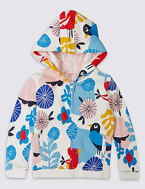 Pure Cotton All Over Print Hooded Sweatshirt