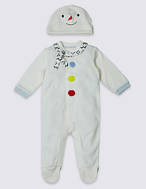 Pure Cotton Christmas Snowman Sleepsuit and Hat