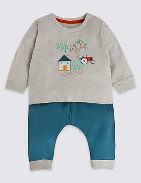 2 Piece Pure Cotton Tractor Jersey Outfit