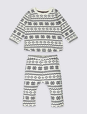 Unisex 2 Piece Pure Cotton Fairisle Outfit (0-12 Months)