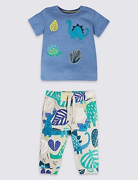 2 Piece Pure Cotton Top & Joggers Outfit, BLUE MIX, catlanding